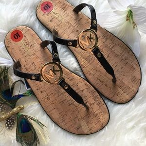 New Michael Kors Logo Black Sandals Size 10